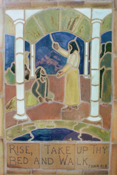 Jesus healing the man at the Pool of Bethesda (pottery tiles by Lynn Eastin)