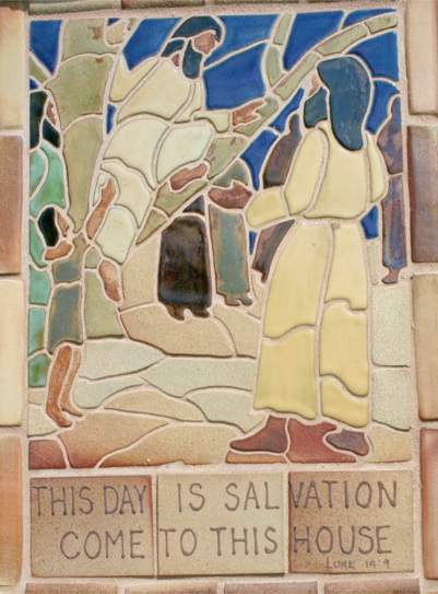 Zacchaeus and Jesus (Pottery tiles by Lynn Eastin)