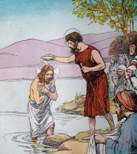 Baptism in the river Jordan, lesson on humility, lesson in humility