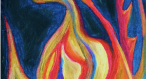 The Flame Shall Not Hurt Thee (oil pastel) by Polly Castor
