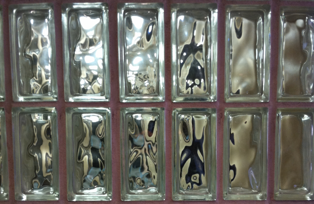Wall of glass bricks
