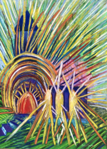 pastel painting of light coming out from church windows, the future of the church, Markus Watson